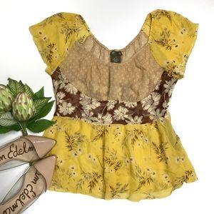 Anthropologie Fei Sheer Silk Floral Print Blouse